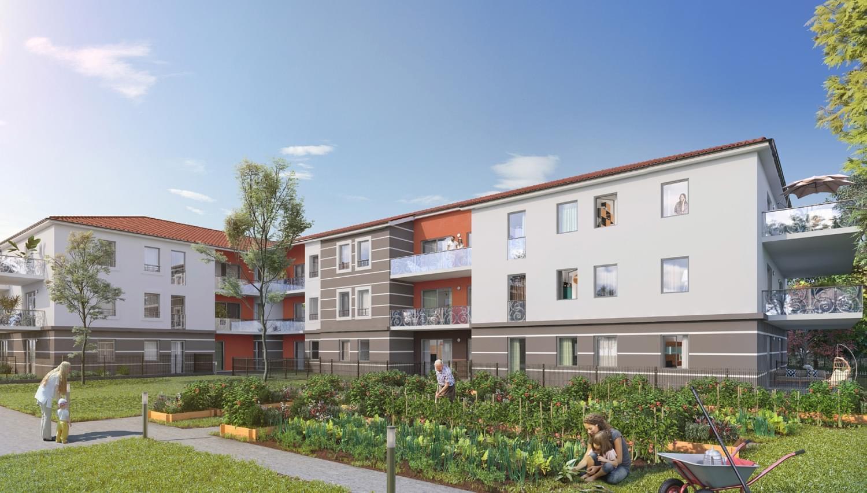 Résidence à Miribel Petits batiments, Potager et verger partagés, Architecture traditionnelle, Normes BBC RT 2012,