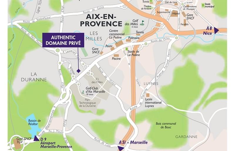 Résidence à Aix-en-Provence Proche commerces, Domaine privé, Architecture provençale,