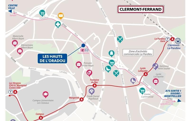 Résidence à Clermont-Ferrand Espaces extérieurs pour chaque appartement, Résidence sécurisée, Proche transports en commun,