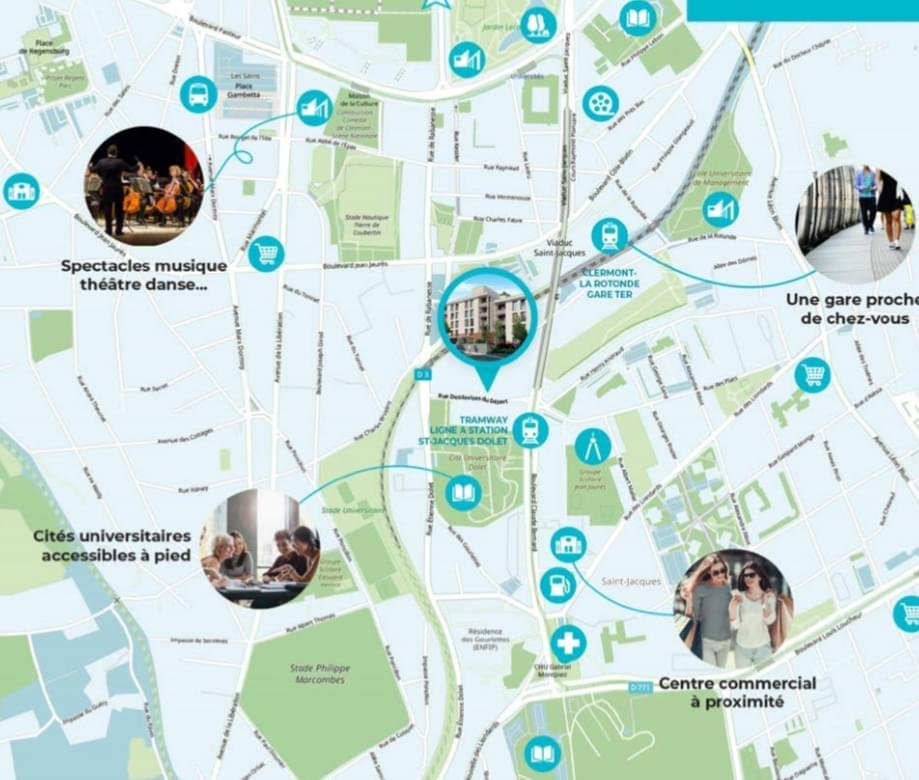 Résidence à Clermont-Ferrand Emplacement proche campus, Investissement LMNP, Espaces communs : espace coworking, salle de fitness, laverie, accueil, bureau, ,