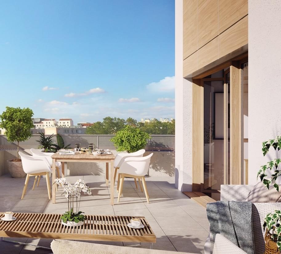 Résidence à Lyon 8 Possibles terrasses en attiques, Stationnement privatif en sous-sol, Porte anti-effraction,
