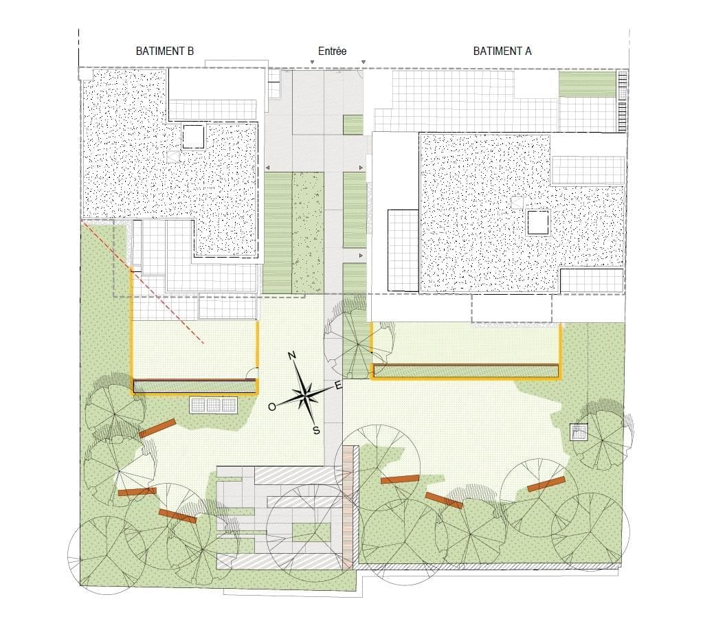 Résidence à Lyon 8 Quartier Monplaisir, Espaces extérieurs pour tous logements, Éligible défiscalisation Pinel,
