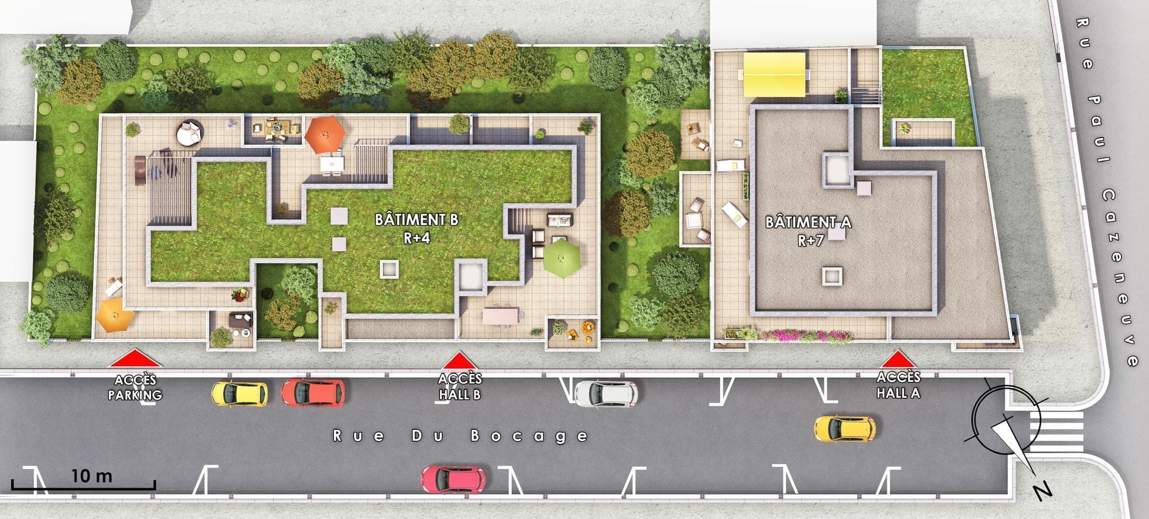 Résidence à Lyon 8 Proche tram T2 et T4, Commerces, médiathèques, ..., Dimension humaine,