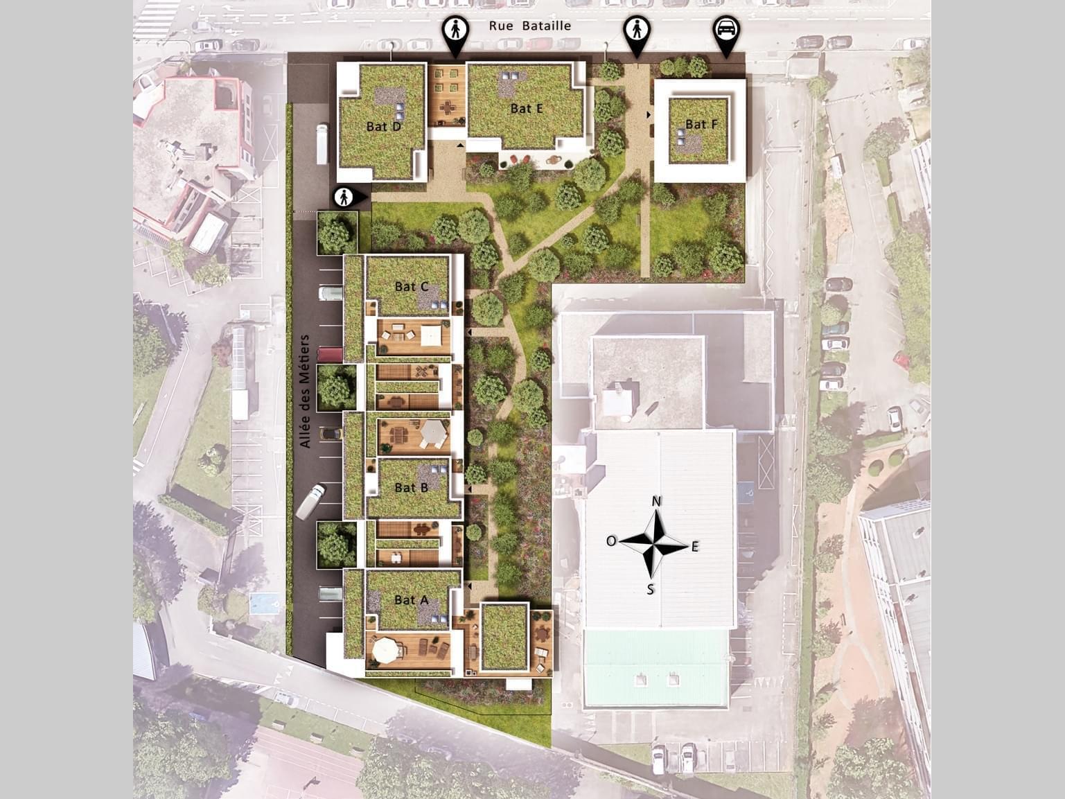 Résidence à Lyon 8 Tramway T2, Cœur d'ilot végétalisé, Quartier Monplaisir,