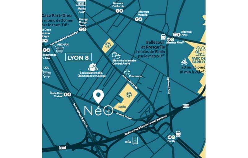 Résidence à Lyon 8 Proche commerces, Proche transports, Proche campus,