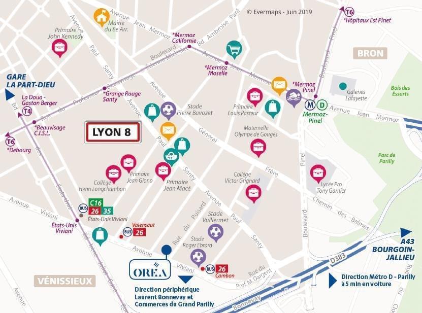 Résidence à Lyon 8 Parc de Parilly tout proche, Métro, tramway, Local vélo,