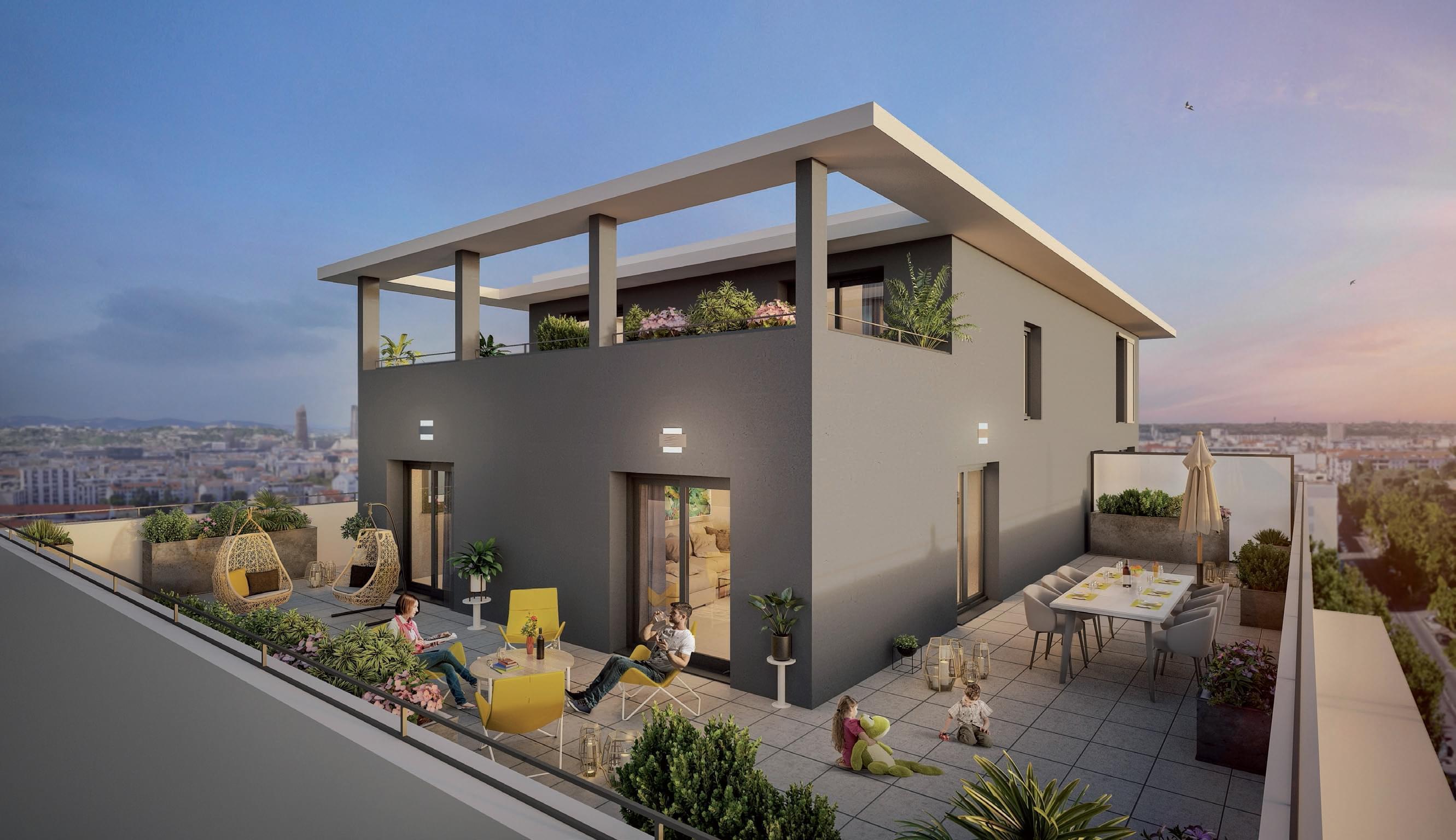 Résidence à Villeurbanne Tramway, Quartier Montchat, Balcon, terrasses,