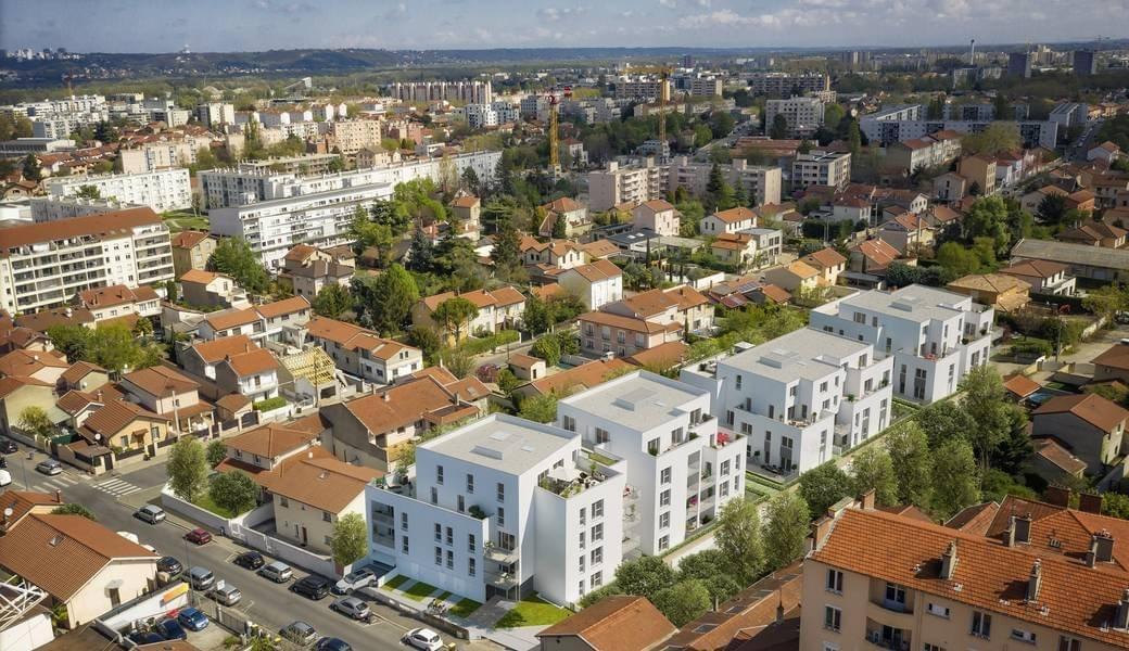 Résidence à Villeurbanne 800m Gratte Ciel, Quartier pavillonaire, Batiments lumineux,