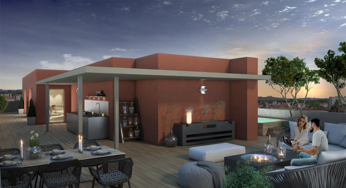 Résidence à Villeurbanne Toit terrasse unique, Proche métro, Logements neufs BBC,
