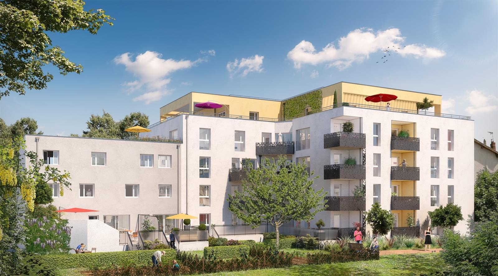 Résidence à Villeurbanne Proche Gratte-Ciel, Jardins privatifs, maison sur le toit, terrasses ou balcons généreux, Proche transports en commun,