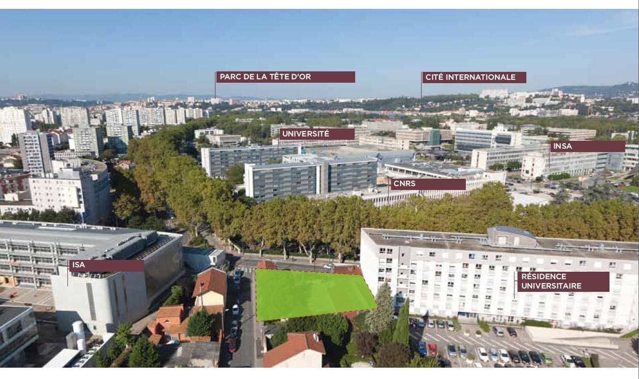 Résidence à Villeurbanne Juste en face du campus, Forte demande locative, Loyer garanti 9 ans, Récupération de la TVA, Réduction d'impôts de 11%,
