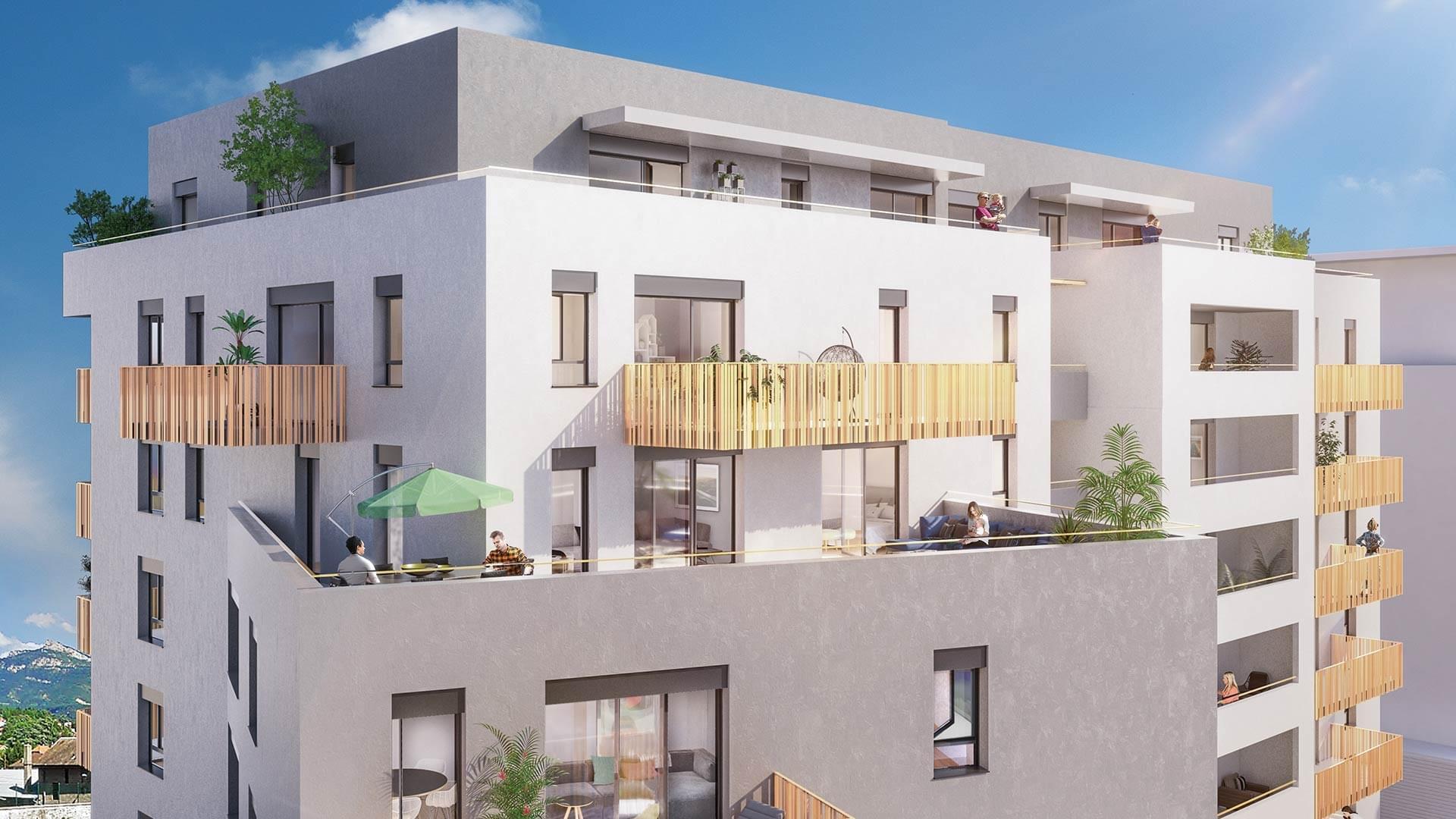 Résidence à Chambéry 5 min du centre-ville, Balcons et terrasses, Superbe vue,
